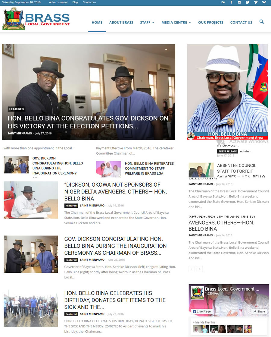 Website Design for Brass Local Government Council, Bayelsa State