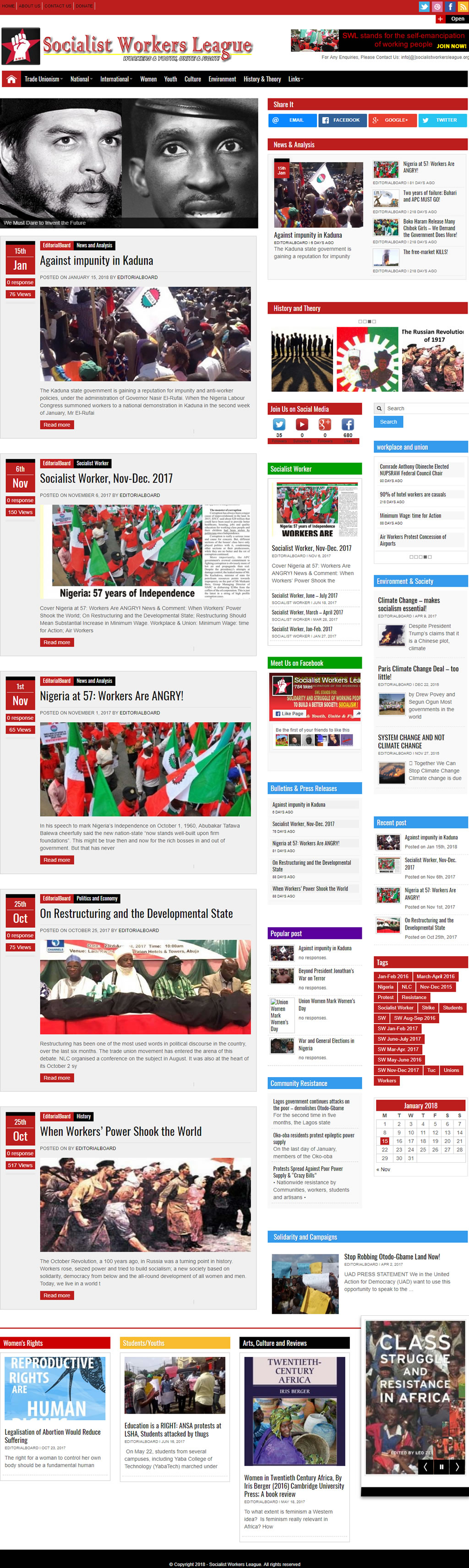 socialist workers league website designed by afeeshost