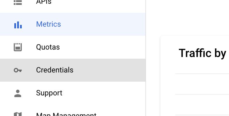 Google Maps Credentials Link