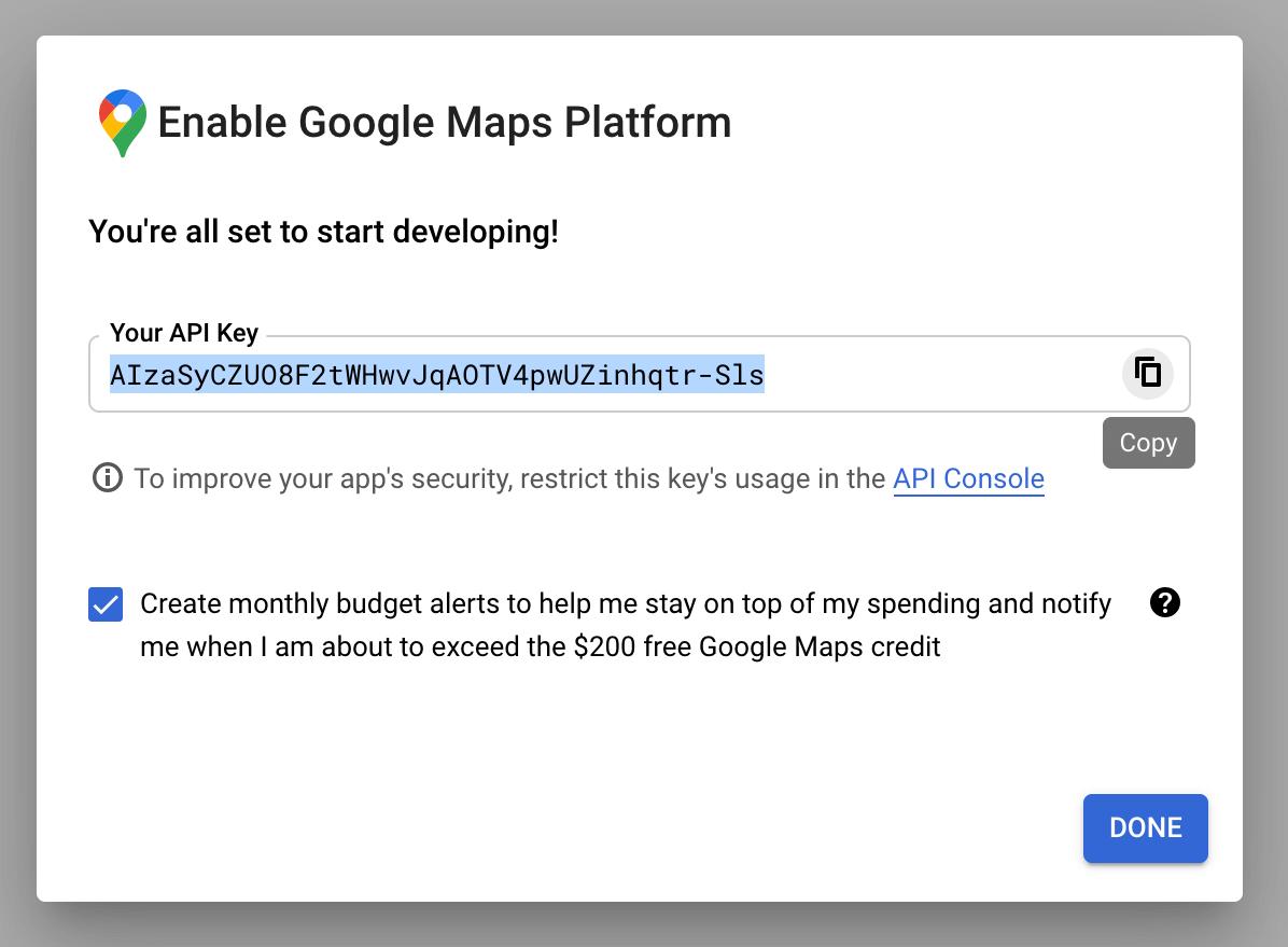 Google Maps API Key Copy