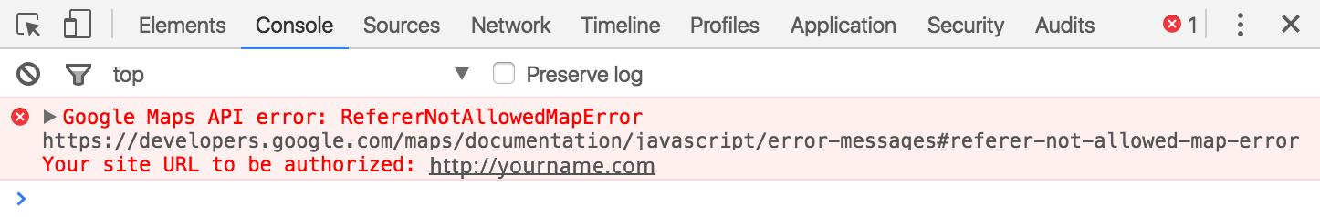 Google Maps Console Error